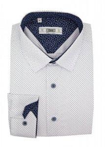 Koszula Slim - biała w granatowy wzorek