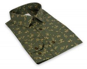 Koszula męska Slim - zielona w kwiatowy wzór