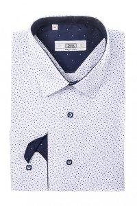 Koszula męska Slim - biała w granatowo- siwy wzór