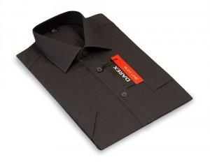 Koszula krótki rękaw Slim Line - ciemny grafit
