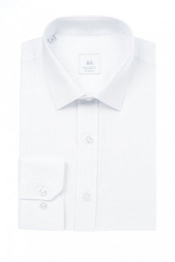 Koszula męska slim - biała z tkaniny lnianej