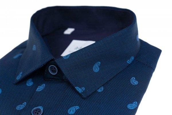 Koszula męska Slim - granatowa we wzorek
