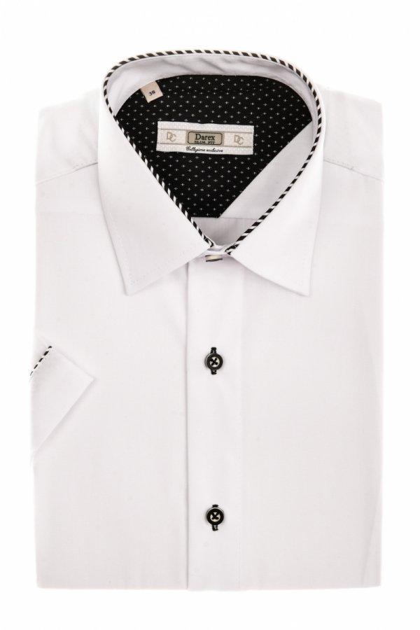 Koszula męska Slim - biała z carnymi dodatkami