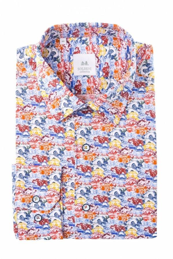 Koszula męska Slim - w kolorowe auta