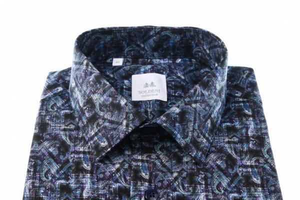 Koszula męska Slim - w kolorowy wzór