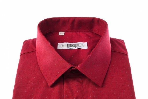 Koszula męska Slim - bordowa w kropeczki