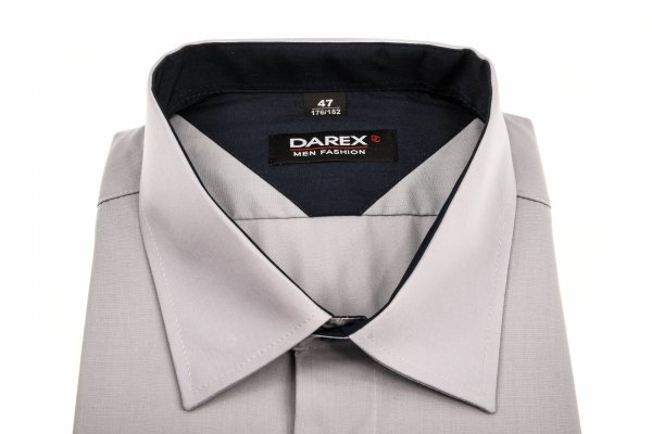Koszula męska XXL - siwa z granatowymi dodatkami