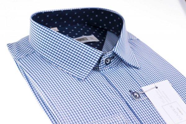 Koszula męska Slim - biała w niebieską krateczkę
