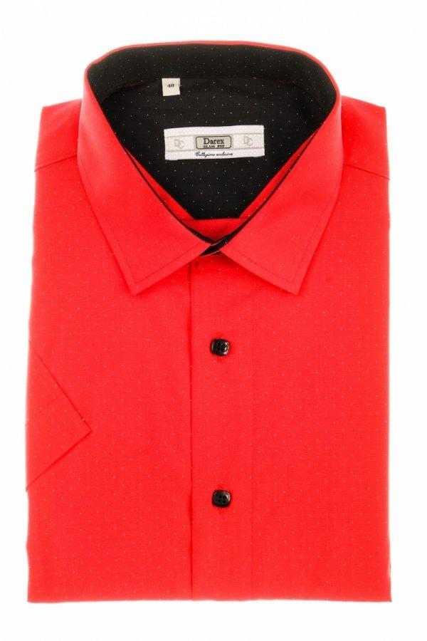 Koszula męska Slim - czerwona w kropeczki