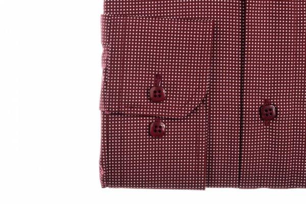 Koszula męska Slim - bordowa w geometryczny wzór