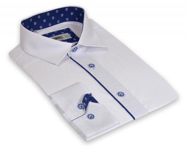 Koszula męska  Slim - biała z szafiroą wypustką