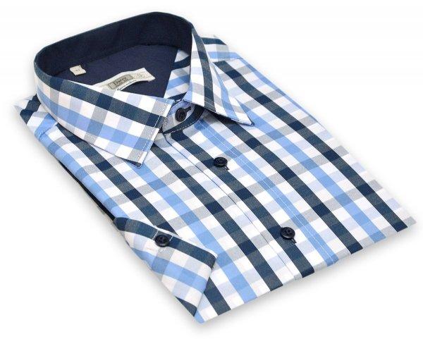 Koszula długi rękaw Slim Fit / Slim Line - w niebiesko-biało-granatową kratę