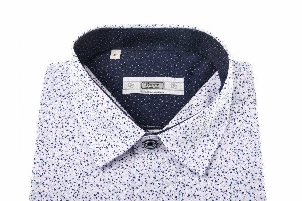 Koszula męska Slim - biała w granatowy wzór