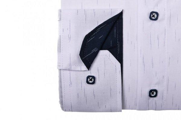Koszula męska XXXL - biała w granatowy wzór