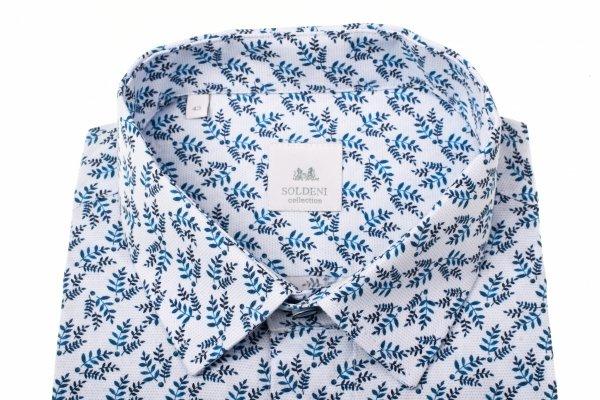 Koszula męska Slim - biała w roślinny wzór