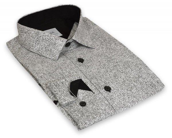 Koszula męska Slim - biała w czarny wzorek