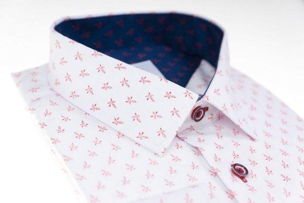 Koszula męska Slim - biała w drobny czerwony wzorek