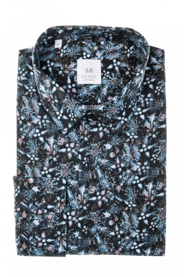 Koszula męska Slim - czarna w kolorowy wzór