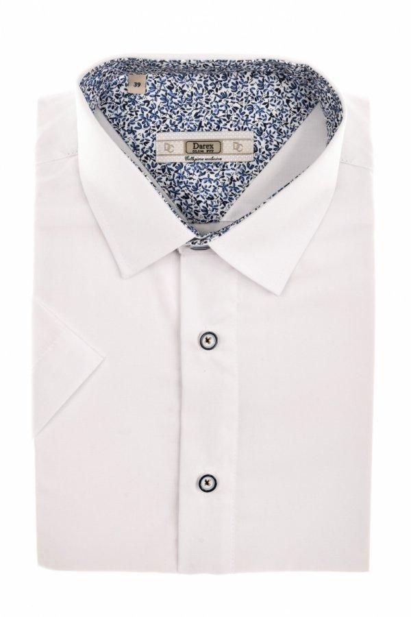 Koszula męska Slim - biała z niebieskim dodatkiem