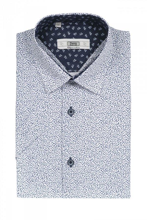 Koszula męska Slim - biała w kwiatowy wzór