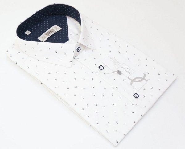 Koszula męska Slim - biała w drobny wzór