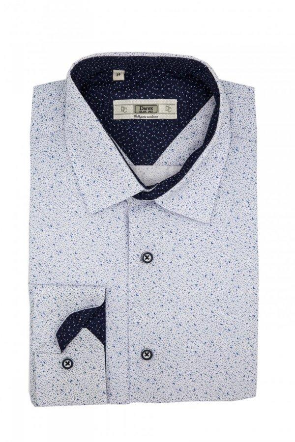 Koszula Slim - biała w niebieski wzorek