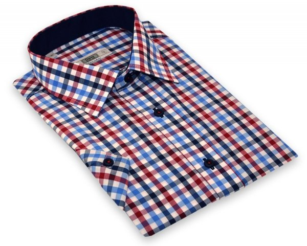 Koszula z długim rękawem Slim - w kolorową kratkę