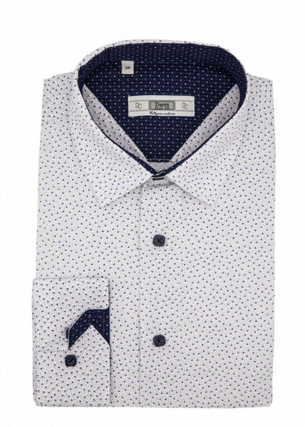 Koszula Slim - biała w granatowo-siwy wzorek