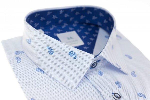 Koszula męska Slim - biała w niebieski wzór