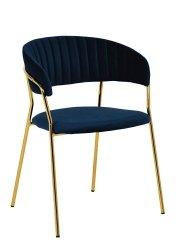 Krzesło MARGO ciemno niebieski/złoty