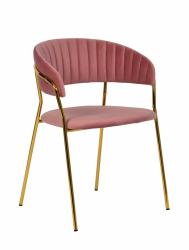 Krzesło MARGO brudny róż/złoty