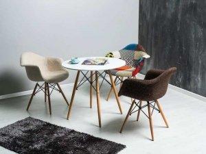 Stół okrągły drewniany/metal SOHO biały/buk różne rozmiary