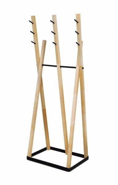 Wieszak stojący drewno/metal dla ''Niej'' i dla ''Niego'' D-2 buk/czarny