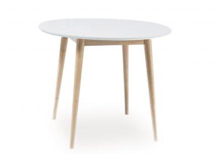 Stół okrągły LARSON biały/dąb bielony