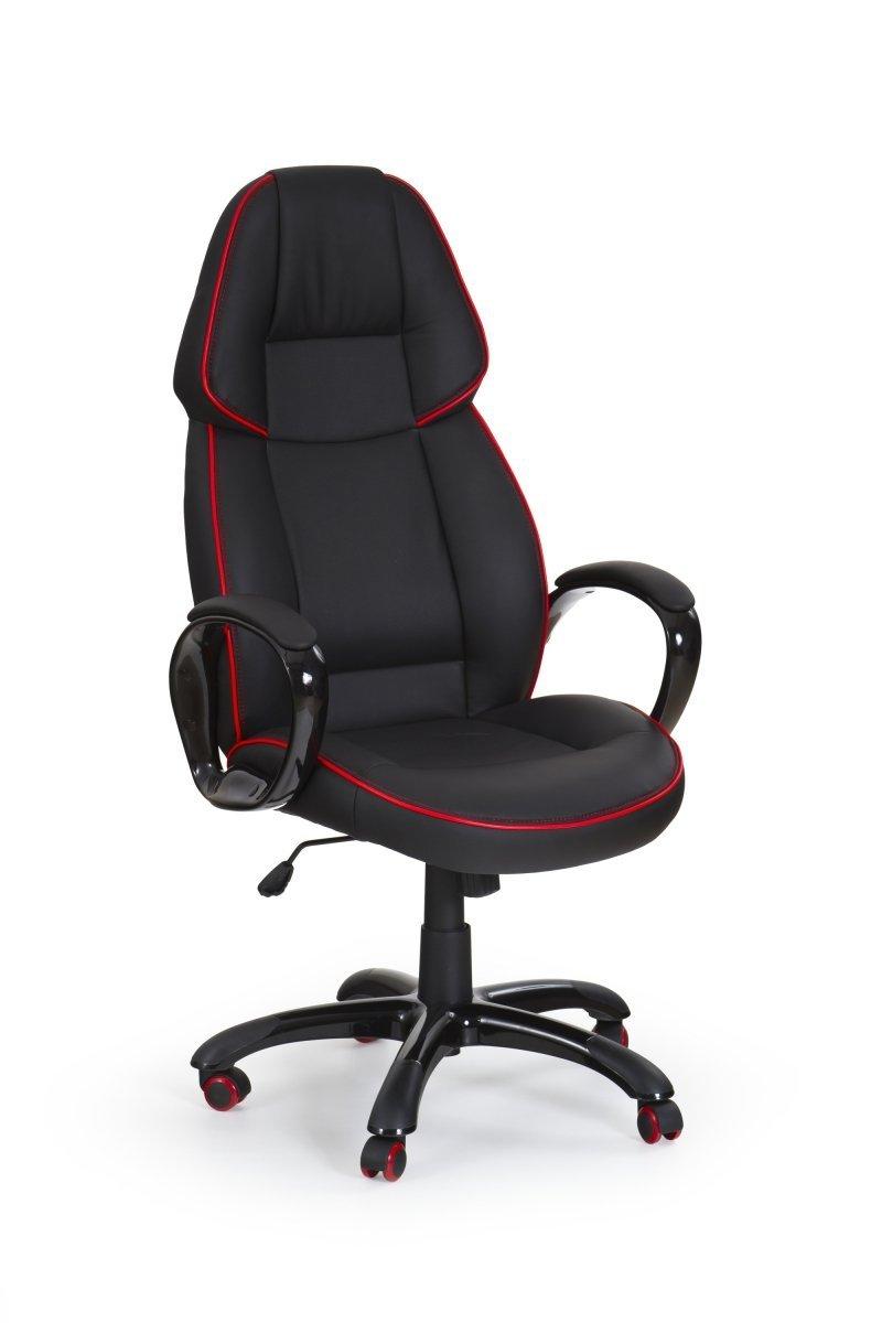 Fotel gabinetowy RUBIN czarny/czerwona lamówka