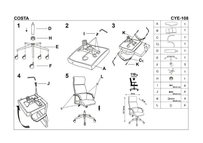 Fotel gabinetowy COSTA biały/czarny