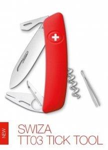 Scyzoryk Czerwony, Tick Tool Swiza TT03 - usuwa kleszcze GRAWER NA OSTRZU GRATIS !