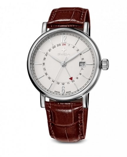 zegarek damski ALZA GMT, SST, white, brown WAT.0142.1001