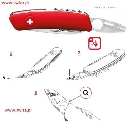 Scyzoryk szwajcarski SWIZA TT03 Khaki TICK TOOL - usuwa kleszcze