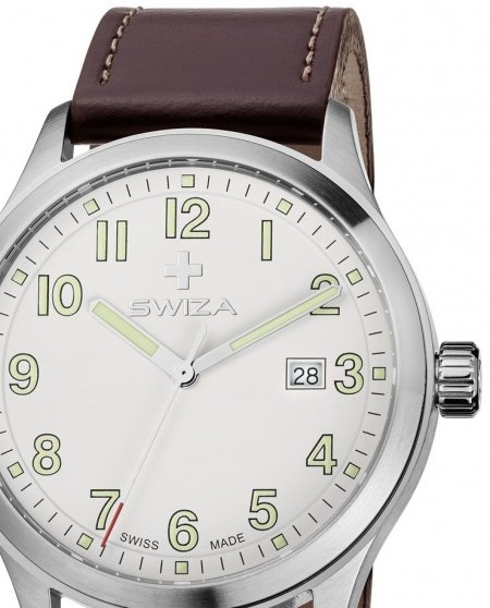Zegarek SWIZA Kretos Gent SST white-brown WAT.0251.1001