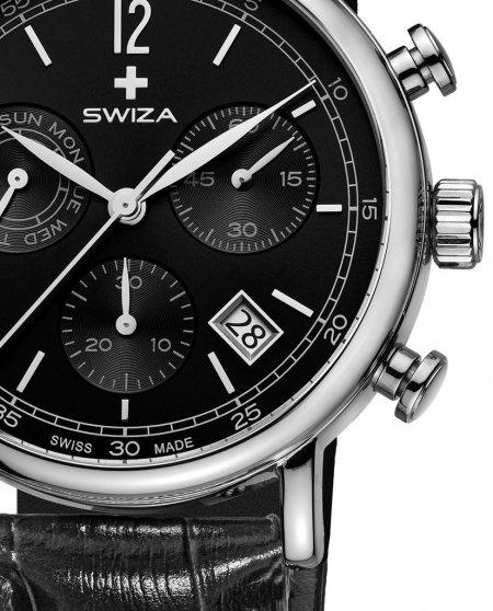 Zegarek SWIZA Alza Chrono SST black-black WAT.0153.1004