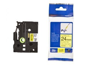Taśma Brother laminowana elastyczna Flexi ID 24mm x 8m czarny nadruk /białe tło