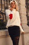 Oversizowy sweter z golfem ecru S104-2