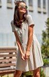 Modna luźna sukienka w paski beżowe M205