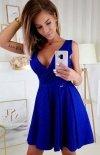 Elegacka sukienka z brokatem chabrowa  2215-05