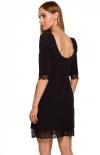 Sukienka z odkrytymi plecami czarna Moe M489 tył