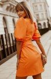 Bicotone sukienka wizytowa z broszką orange 2222-07 tył