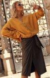 Przekładana spódnica ekoskóra khaki M615-1