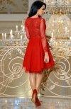 Bicotone 2160-02 sukienka rozkloszowana czerwona tył