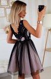 Rozkloszowana sukienka z koronką czarno-beżowa Bicotone 2206-16 tył